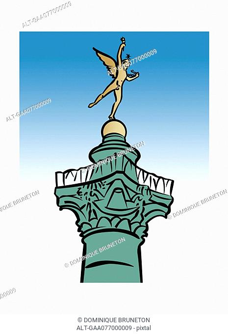 Illustration of the Génie de la Liberté statue atop the Colonne de Juillet, Place de la Bastille, Paris, France