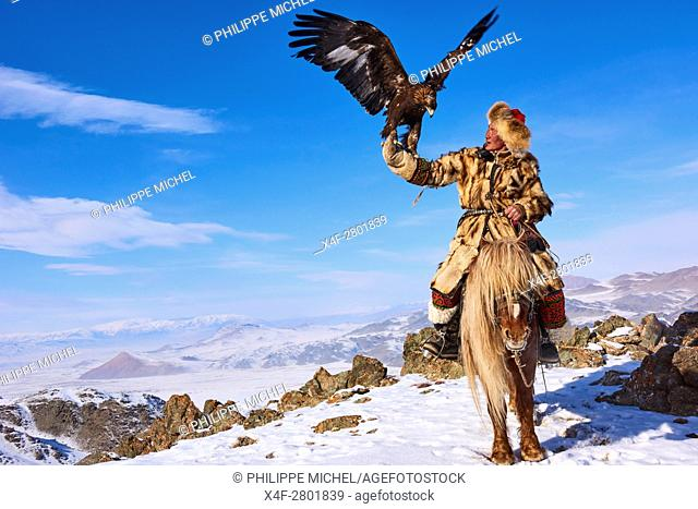 Mongolia, Bayan-Olgii province, Seil habi, Kazakh eagle hunter with his Golden Eagle in Altai mountains