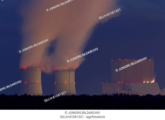 Cooling towers from a Brown-Coal-fired Power Station at night