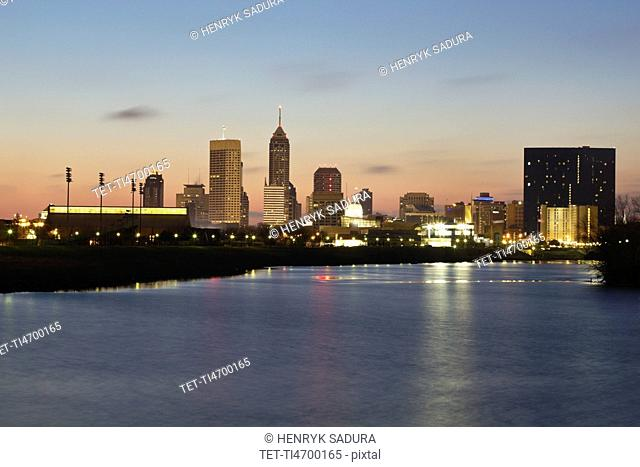 USA, Indiana, Indianapolis, Skyline with State Capitol Building