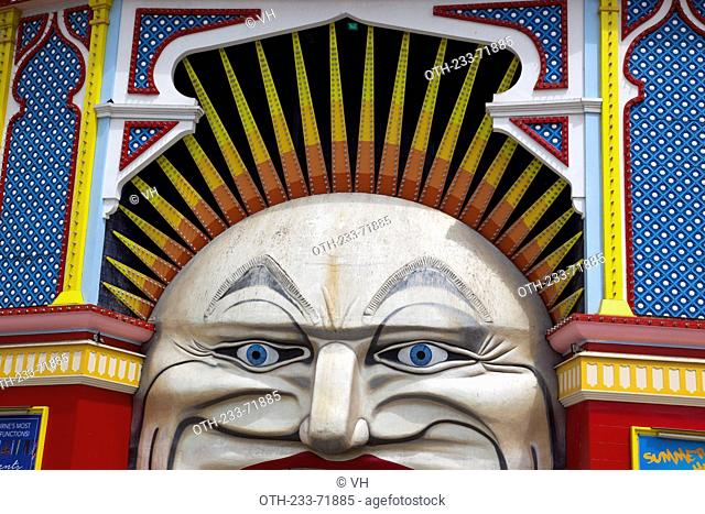 The iconic Mr. Moon face entrance of Luna Park, located foeshore of Port Philip Bay, Melbourne, Victoria, Australia