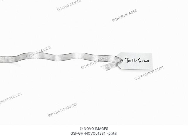 Silver Ribbon With Tis the Season Tag