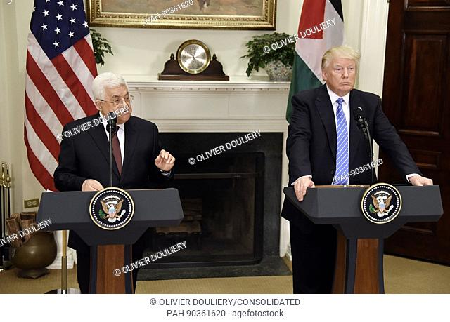 United States President Donald J. Trump gives a joint statement with President Mahmoud Abbas of the Palestinian Authority in the Roosevelt Room of the White...