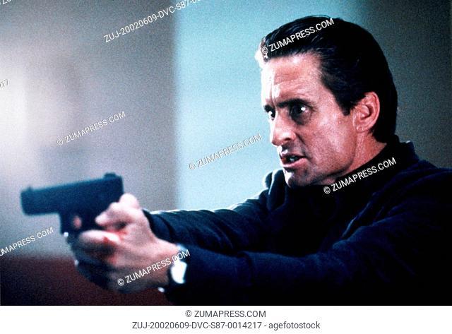 1992, Film Title: BASIC INSTINCT, Director: PAUL VERHOEVEN, Studio: TRI, Pictured: MICHAEL DOUGLAS, GUN CRAZY. (Credit Image: SNAP/ZUMAPRESS.com)