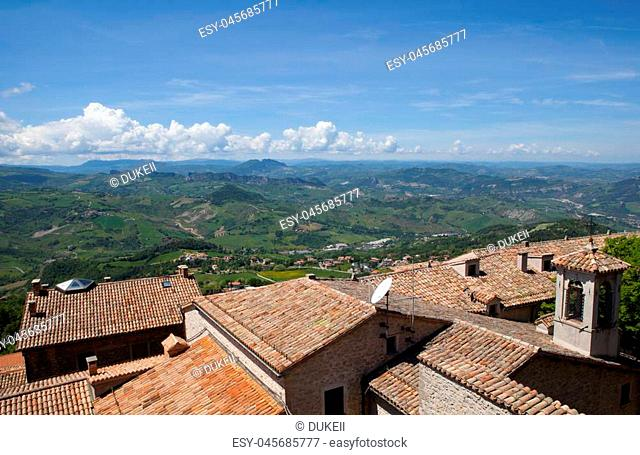 Aerial view on Italian hills from San Marino