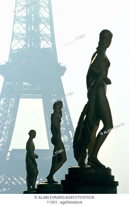 Statues at the Chaillot Palace and Eiffel Tower. Paris. France