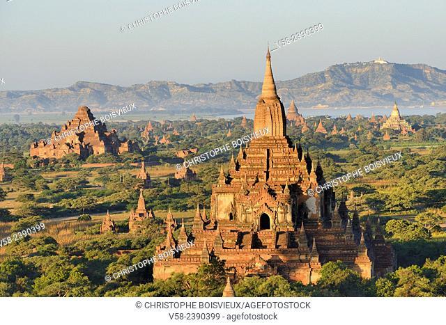 Myanmar, Bagan from above, Sulamani and Dhammayangyi pagodas