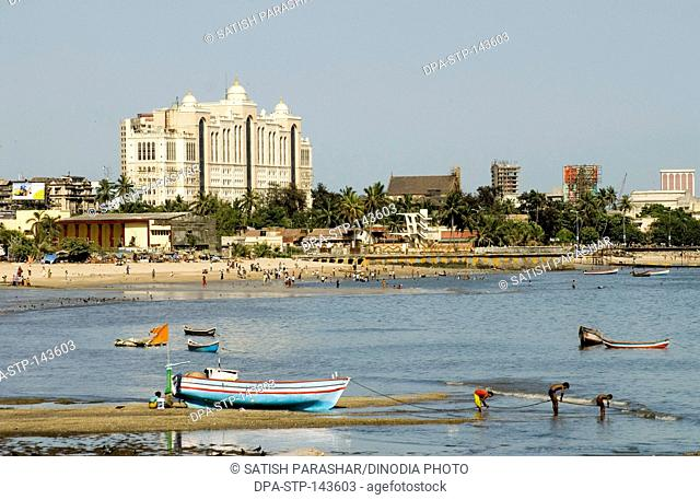Chowpatty of charni road ; Bombay now Mumbai ; Maharashtra ; India