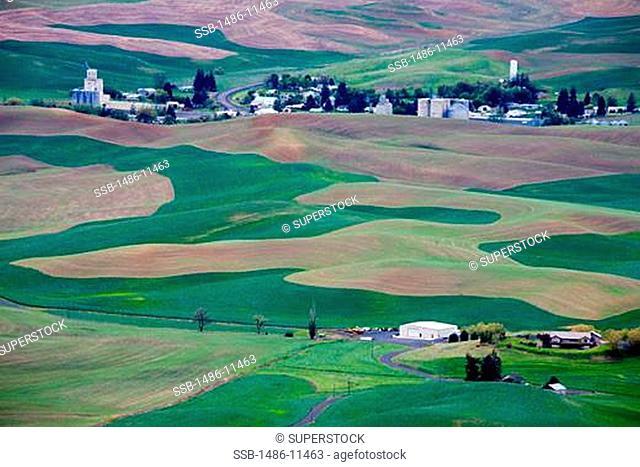 High angle view of a village, Steptoe Butte State Park, Palouse Region, Spokane, Spokane County, Washington State, USA