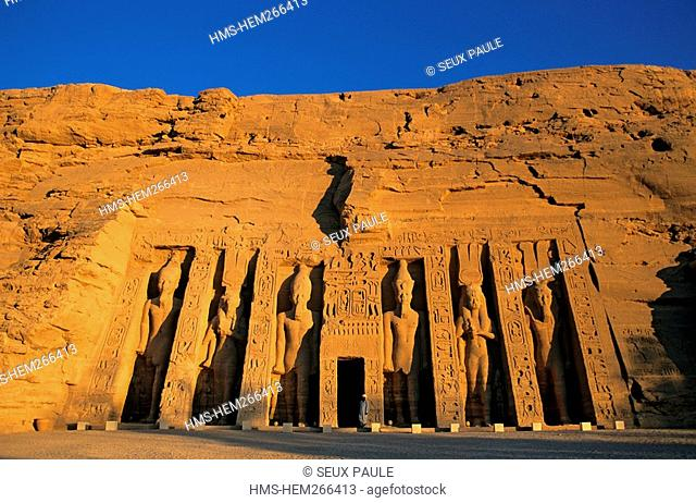 Egypt, Upper Egypt, Nubia, Abu Simbel, site listed as World Heritage by UNESCO, Nefertari Temple dedicated to Hathor Goddess at the edge of Lake Nasser