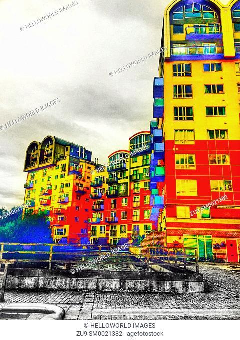 Bright coloured apartments, Greenwich Millennium village, Greenwich peninsula, London, England