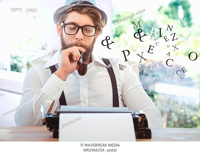 Hipster man on typewriter with letters and bright windows
