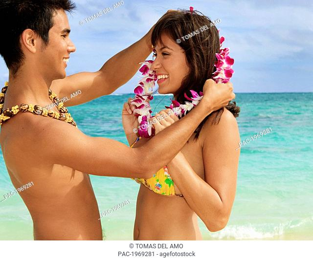 Hawaii, Oahu, Lanikai, Young Couple On The Beach