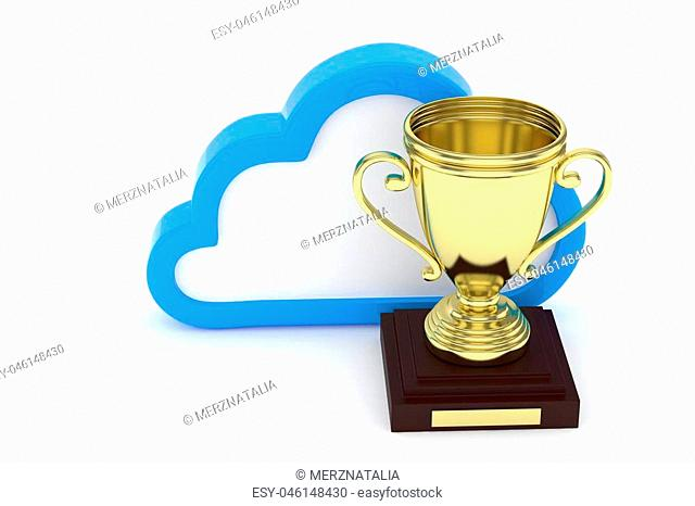 Isoalted golden cup with cloud on white background. Blue contour cloud. Concept of cloud storage competition. Leader cloud drive. Best storage contest