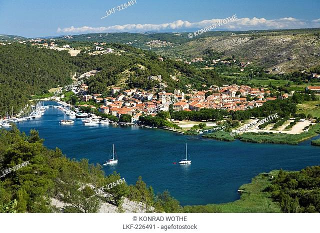View at the town of Skradin at Krka river, Krka National Park, Dalmatia, Croatia, Europe