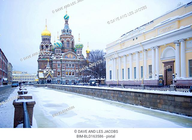 Frozen canal near Church of the Savior on Spilled Blood, St Petersburg, Northwestern District, Russia