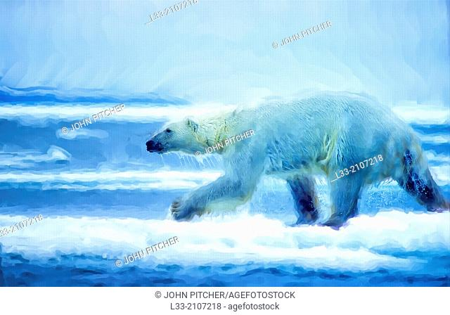 Large male polar bear running on ice floe, oil painting effect, digital art