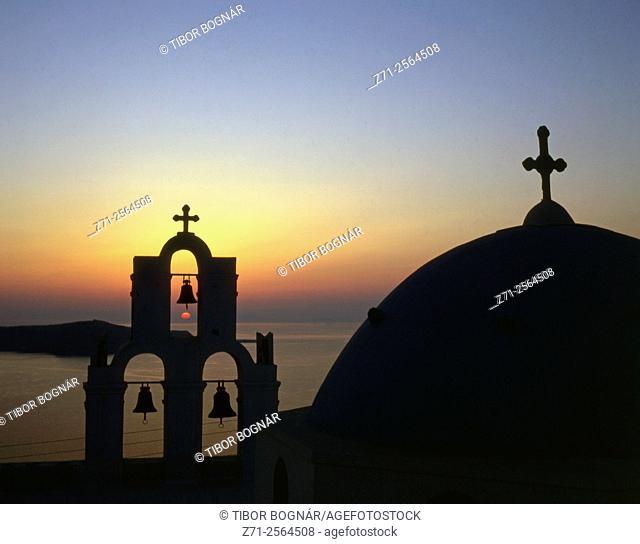 Greece, Cyclades, Santorini, Thera, Fira, church, sunset,