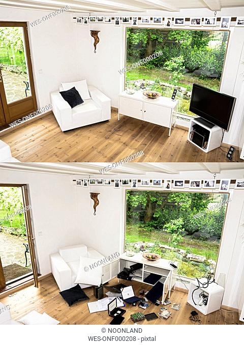 Germany, North Rhine Westphalia, Interior of house before and after burglary