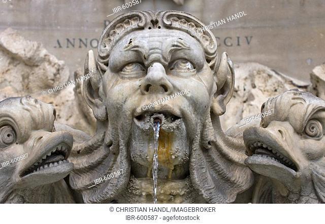 Figure on a fountain at Piazza della Rotonda, Rome, Italy, Europe