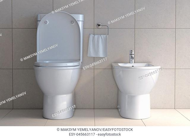 Toilet bowl and bidet in the modern bathroom. 3d illustration