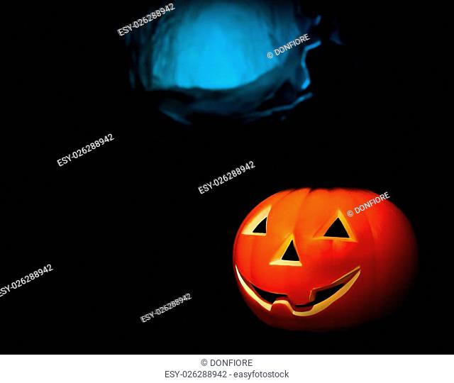 Halloween night background with scary dark tomb background and pumpkin, halloween party concept