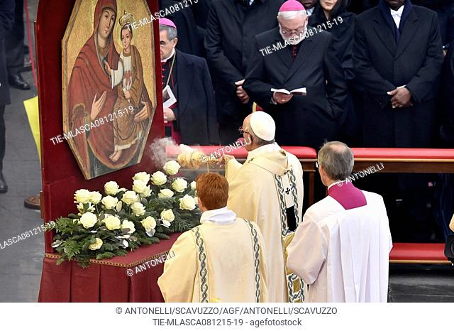 Jubilee of Mercy, Pope Francis during the mass for the opening of the Holy Door of St. Peter Basilica, Vatican, Rome, ITALY-08-12-2015   Journalistic use only