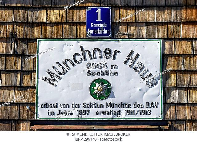 Sign and house number, Münchner Haus mountain refuge, Zugspitze, Garmisch-Partenkirchen, Wetterstein, Alps, Upper Bavaria, Bavaria, Germany