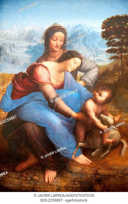 Sainte Anne, la Vierge et l'Enfant jouant avec un agneau, dite La Sainte Anne. Léonard de Vinci. Louvre Museum. Paris. France