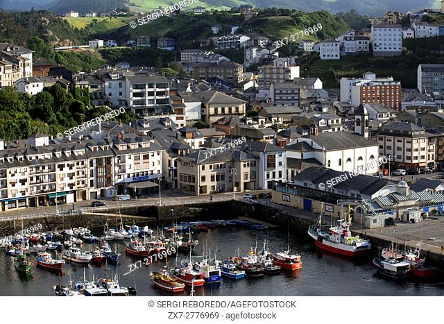 Fishing boats in Luarca harbour, Asturias, North of Spain. One of the stops of the Transcantabrico Gran Lujo luxury train