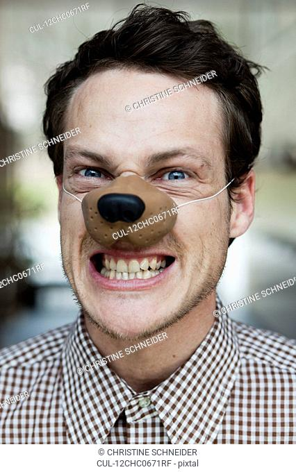 man with toy dog nose snarling