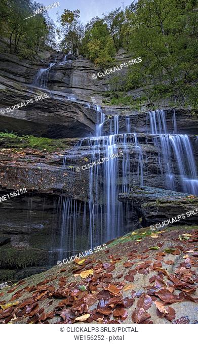Waterfall in the Foreste Casentinesi NP in autumn, Tuscany, Italy
