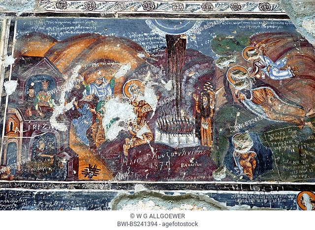 fresco damaged by vandalism at the monastery Sumela, Turkey, Trabzon
