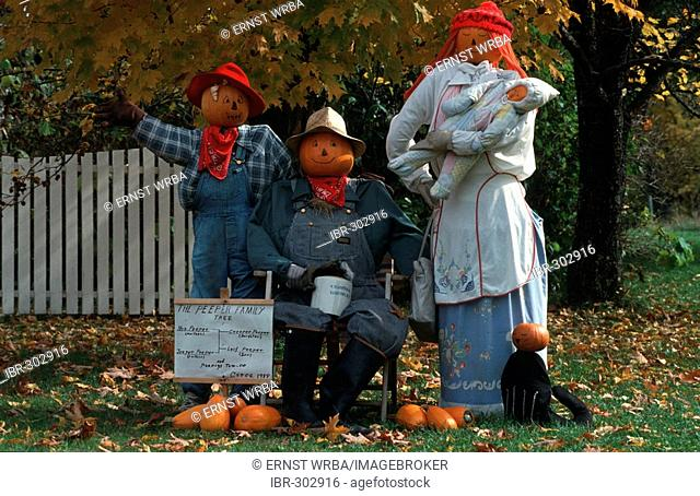 Puppet familiy with pumpkin heads, Peacham, Caledonia County, Vermont, USA
