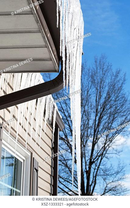 Long Icicles on the gutters of a brown house