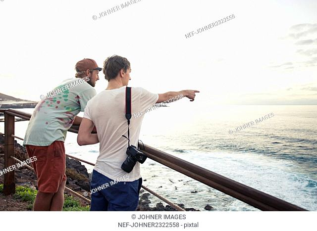 Two men looking at sea