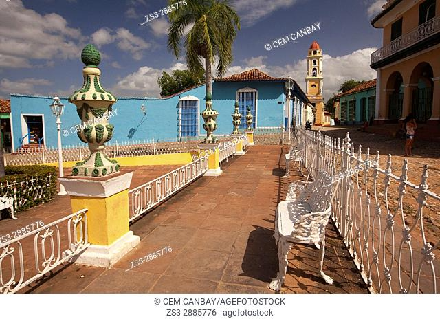 View to the Museo Nacional de la Lucha contra Bandidos at the Main Square-Plaza Mayor, Trinidad, Sancti Spiritu Province, Cuba , West Indies, Central America