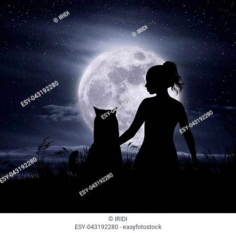The girl with her cat are sitting by moonlight