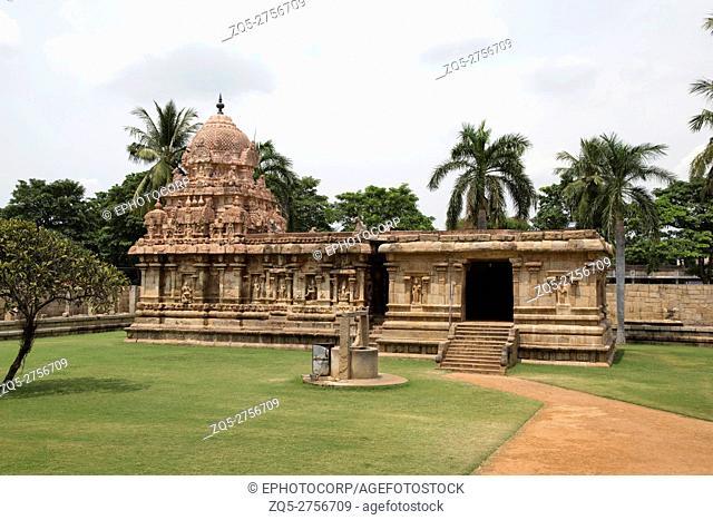 Amman temple of goddess Brihannayaki, Brihadisvara Temple complex, Gangaikondacholapuram, Tamil Nadu, India. View from South West