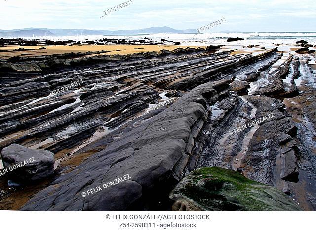 Coastline Barrika beach, Biscay, Basque Country, Spain