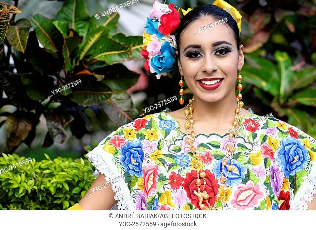 Young woman in traditional Mexican outfit. Puerto Vallarta, Jalisco, Mexico. Xiutla Dancers - a folkloristic Mexican dance group in traditional costumes...
