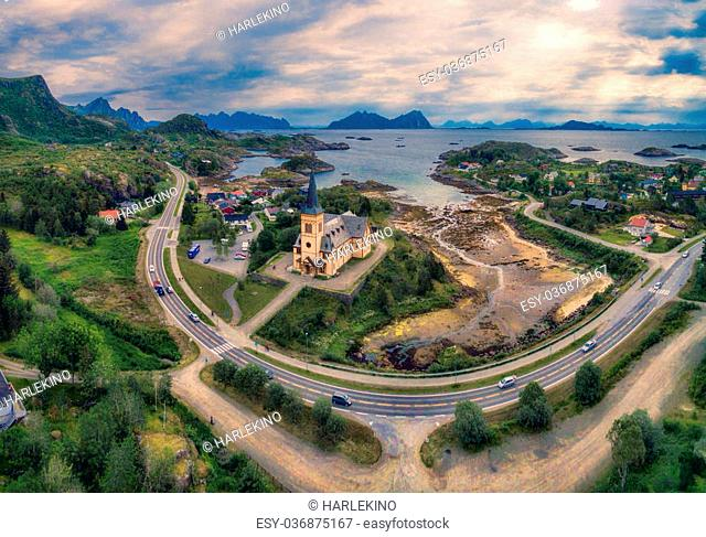 Aerial panoramic view of Vagan church also known as Lofoten cathedral, popular tourist destination