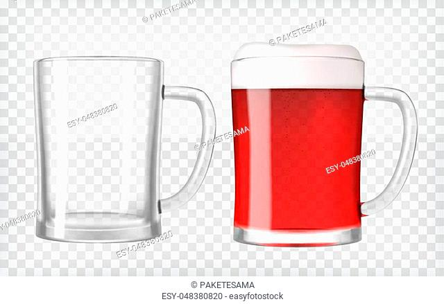 Realistic beer glasses. Mug filled with red fruit beer and bubbles with empty mug. Graphic design element for a brewery ad, beer garden poster