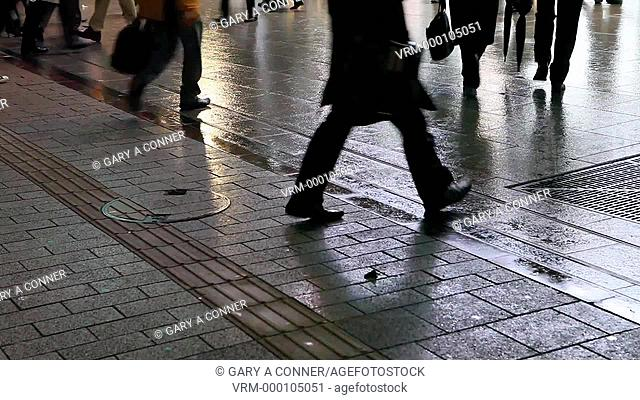 Pedestrians crossing street, evening, Akihabara, Tokyo, Japan