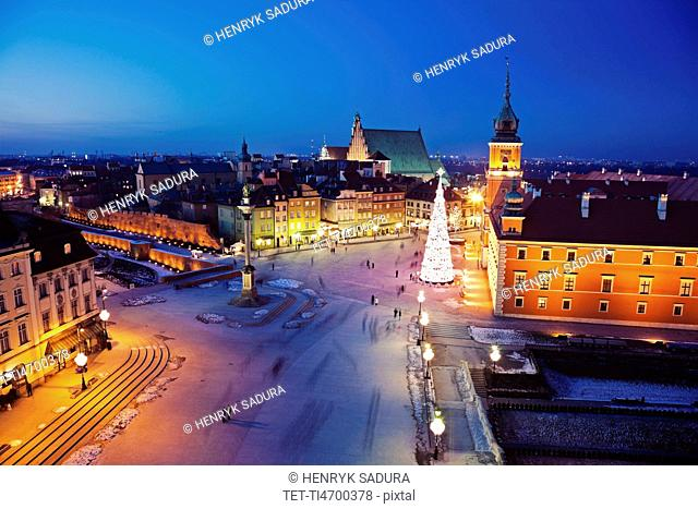 Castle Square, Sigismund's Column and Royal Castle in Christmas time