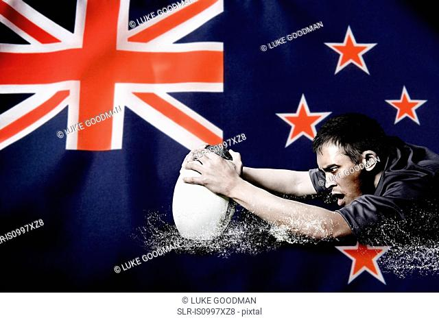 New Zealand flag and rugby player