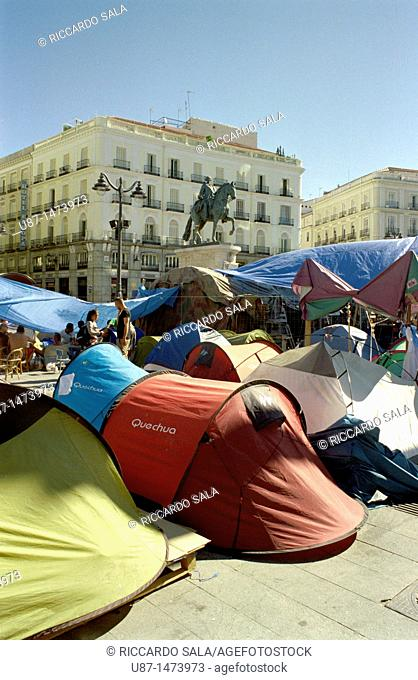 Spain, Madrid, Protesting in Puerta del Sol
