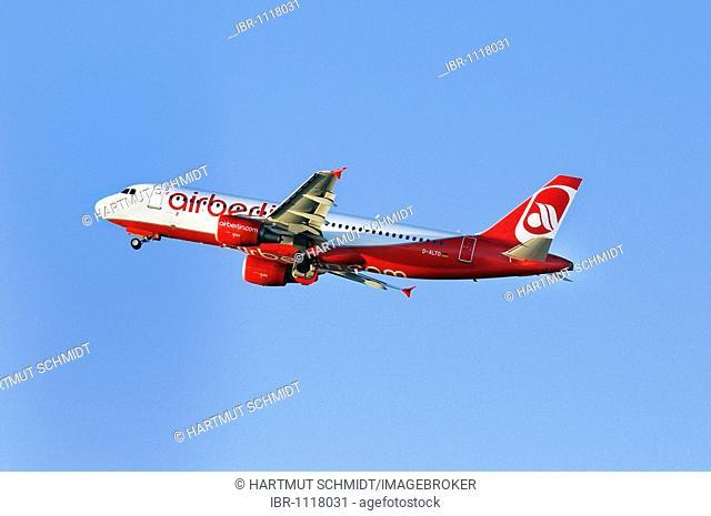 Airbus A320-214, airplane of Airberlin in climb flight, airberlin.com