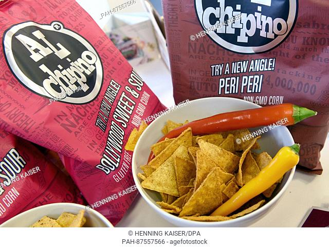 Super spicy tortilla chips flavoured with Peri spices, seen during a photo call for the introduction of trends and new from the confectionary fair ISM