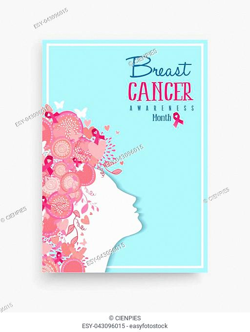 Breast cancer awareness month poster design with woman hair made of pink ribbon nature decoration for help and support. EPS10 vector